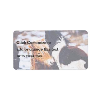 Pony Themed, Winter Scene Of Pony Horses Couple Sh Address Label
