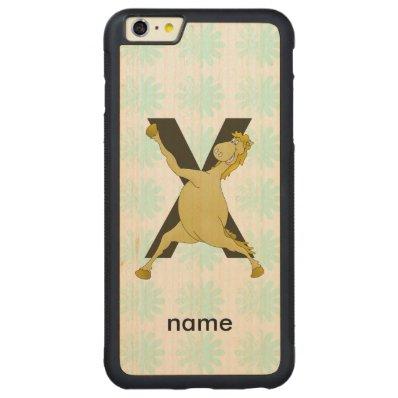 Pony X Personalized Monogram Carved® Maple iPhone 6 Plus Bumper