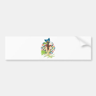 Ponytail and cat ear colorful (Cat ears and Bumper Sticker