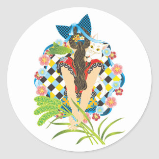 Ponytail and cat ear colorful (Cat ears and Classic Round Sticker