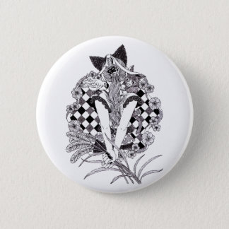 Ponytail and cat ear pen drawing (Pen drawing cat Pinback Button
