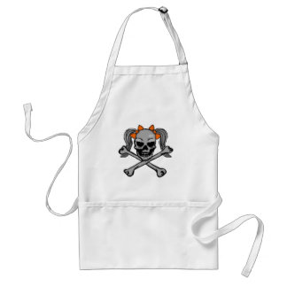 Ponytail skull and crossbones with orange bows adult apron