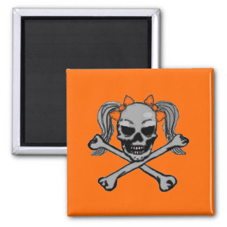 Ponytail skull and crossbones with orange bows magnets