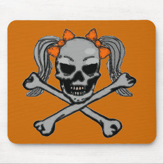 Ponytail skull and crossbones with orange bows mouse pad