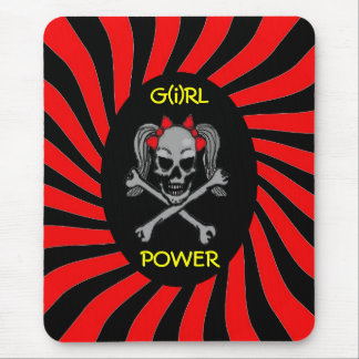 Ponytail skull and crossbones with red bows mouse pad