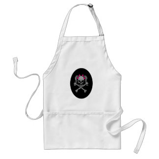 Ponytail skull decal pink adult apron
