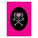 Ponytail skull decal pink greeting card