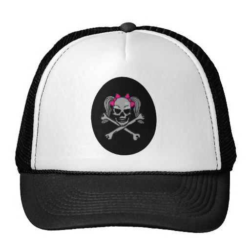 Ponytail skull decal pink hats