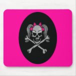 Ponytail skull decal pink mouse pad