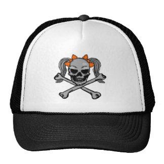 Ponytail skull orange trucker hat