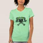Ponytail skull w/ green bows t-shirts