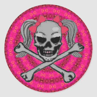 Ponytail skull w/ pink bows classic round sticker