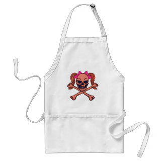 Ponytail skull with pink bows adult apron