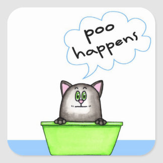 Poo Happens Cat Sticker
