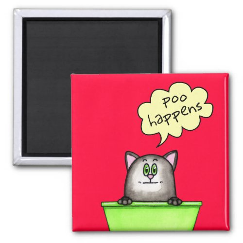 Poo Happens Cute Kitty in Litter Box 2-inch Square Refrigerator Magnet