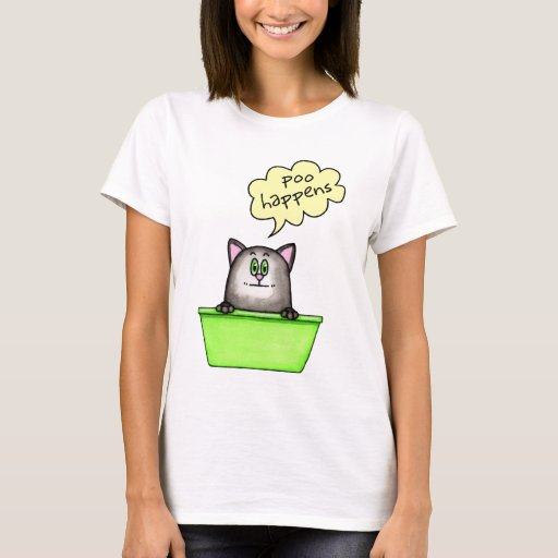 Poo Happens Litter Box Humor T-Shirt
