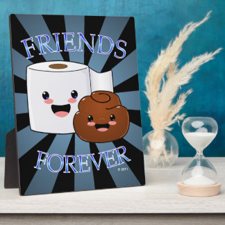 Poo y amigos del papel higiénico para siempre placa