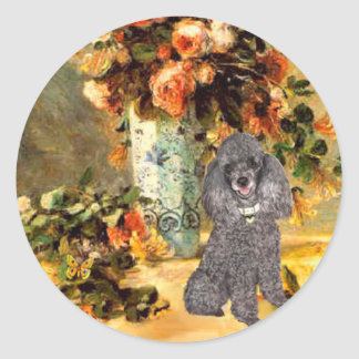 Poodle (8S) - Vase of Flowers Classic Round Sticker
