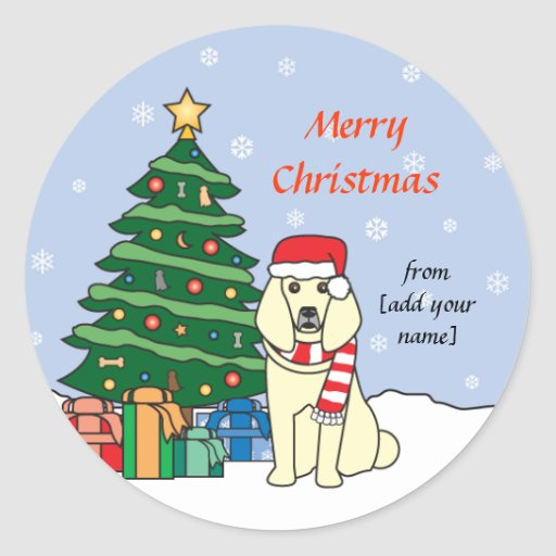 Poodle and and Christmas Tree Sticker