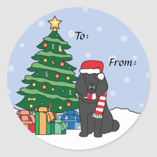 Poodle and Christmas Tree Sticker