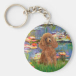 Poodle (Apricot 10) - Lilies 2 Basic Round Button Keychain