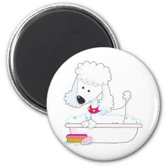 Poodle Bath 2 Inch Round Magnet