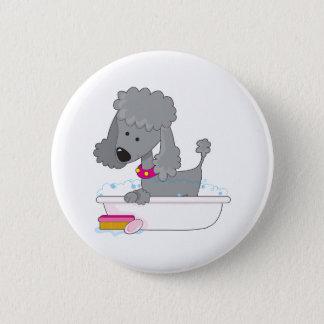 Poodle Bath Pinback Button