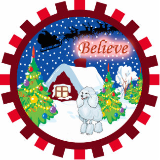 poodle believe in santa ornament
