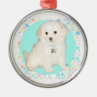 Poodle / Bichon Mix Puppy Celebrates Life Round Metal Christmas Ornament