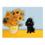 Poodle (Black1) - Sunflowers Postcards