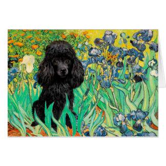 Poodle (black 1) - Irises Greeting Card