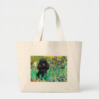 Poodle (black 1) - Irises Large Tote Bag