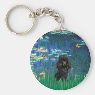 Poodle (black 1) - Lilies 5 Keychain