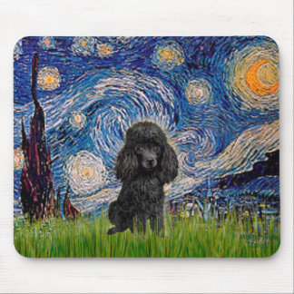 Poodle black 1 - Starry Night Mouse Mat