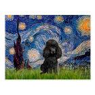 Poodle (black 1) - Starry Night Postcard
