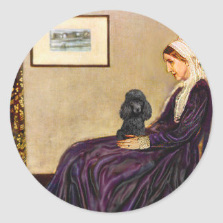 Poodle (black 1) - Whistler's Mother Classic Round Sticker
