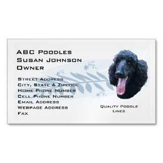 Poodle Blue Feather Business Card Magnet