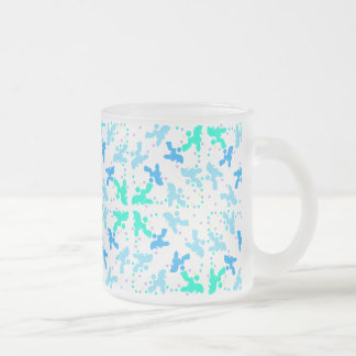 Poodle blue point pattern frosted glass mug