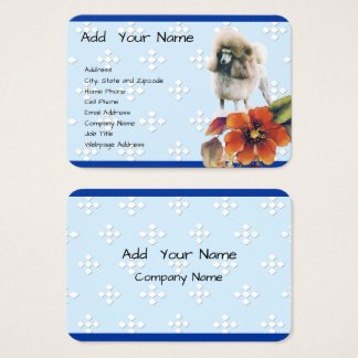 Poodle - Blue w/ White Diamond Business Card