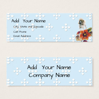 Poodle - Blue w/ White Diamond Mini Business Card