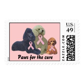 Poodle  Breast Cancer Postage Stamp
