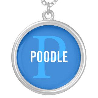 Poodle Breed Monogram Design Round Pendant Necklace