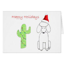 Poodle Cactus Christmas Card