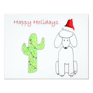 Poodle Cactus Christmas 4.25x5.5 Paper Invitation Card