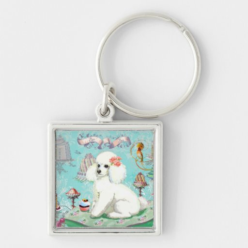 Poodle Cakes Silver-Colored Square Keychain