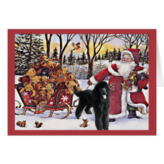 Poodle Christmas Card Santa Bears In Sleigh
