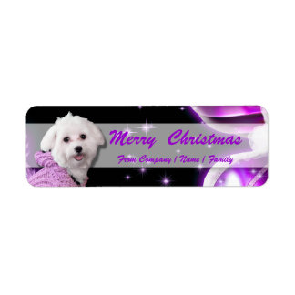 Poodle Christmas greeting business PERSONALIZE Return Address Label