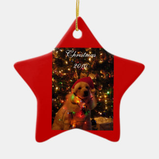Poodle Christmas Double-Sided Star Ceramic Christmas Ornament