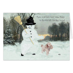 Poodle Christmas Snowman Card at Zazzle