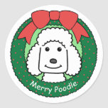 Poodle Christmas Stickers